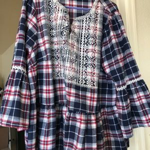 Plaid Embroidered Top